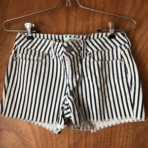 Aeropostale Blue & White Striped Denim Shorts